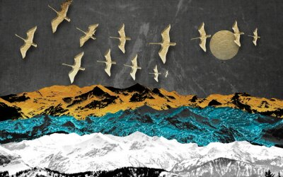 Wall mural Abstract colored mountains on a dark background, full moon, flock of birds
