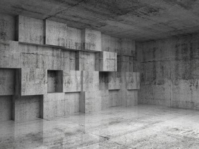 Wall mural Abstract concrete 3d interior with decoration cubes on the wall