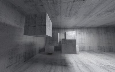 Wall mural Abstract concrete 3d interior with flying cubes. Wide angle