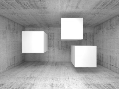 Wall mural Abstract concrete interior, flying cubes 3 d