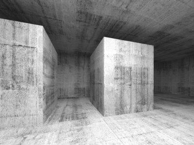 Wall mural Abstract dark gray empty concrete room, 3d interior