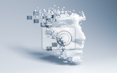Wall mural Abstract digital human face.  Artificial intelligence concept of big data or cyber security. 3D illustration