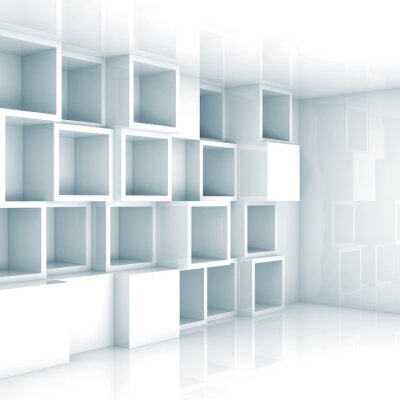 Wall mural Abstract empty 3d interior, white empty cube shelves on wall