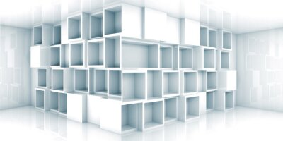 Wall mural Abstract empty 3d room interior with cabinet in the corner