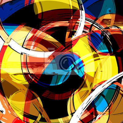 Wall mural Abstract geometric colored background in the style of graffiti. Qualitative illustration for your design