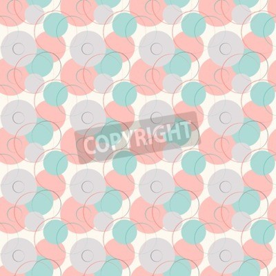 Wall mural Abstract geometric line and round seamless pattern.  illustration for modern design. Blue, white, pink and grey color.