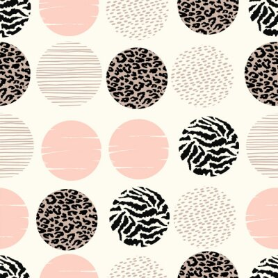 Wall mural Abstract geometric seamless pattern with animal print and circles.