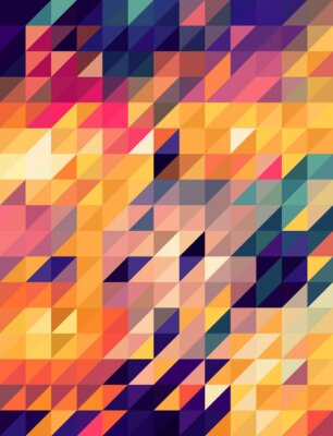 Wall mural Abstract golden and blue triangles background