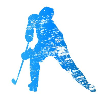Wall mural Abstract grungy vector ice hockey player