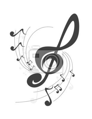 abstract music violin key music notes design