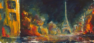 Wall mural Abstract night paris. Original oil old city on canvas.Modern