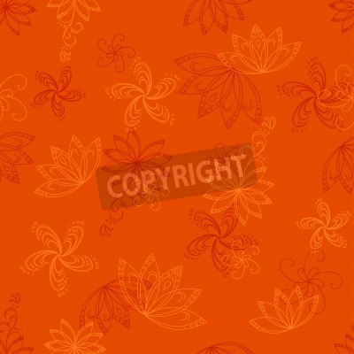 Abstract orange seamless vector background with graphic floral pattern