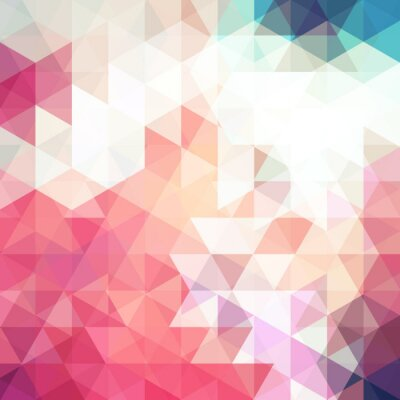 Wall mural Abstract pink mosaic background. Triangle geometric background. Design elements. Vector illustration