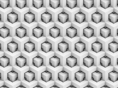 Wall mural Abstract polygonal 3D seamless pattern - geometric box structure background