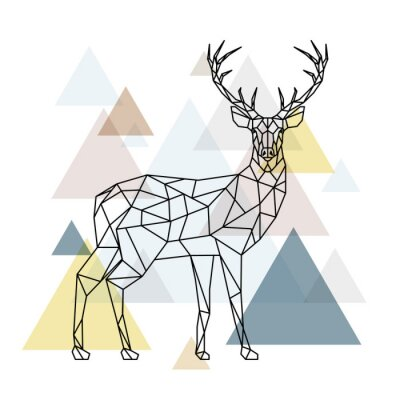 Wall mural Abstract polygonal deer. Geometric hipster illustration. Reindeer with side view. Scandinavian style.