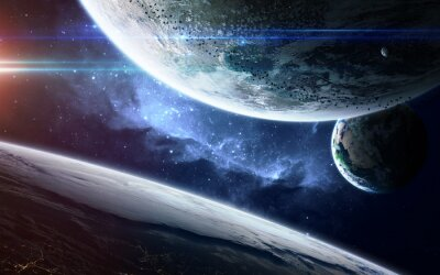 Wall mural Abstract scientific background - glowing planet in space