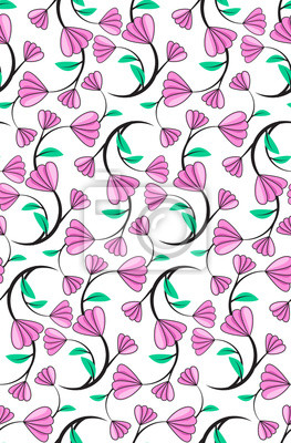 Wall mural Abstract seamless florals pattern background with purple cute fl