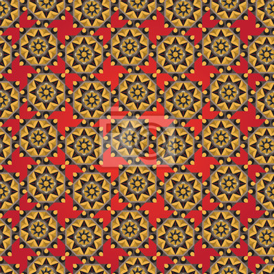 Wall mural Abstract seamless geometric florals simple pattern background an