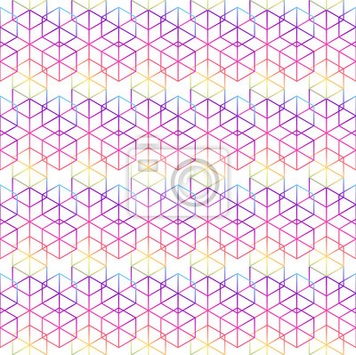 Wall mural Abstract seamless geometric pattern background with rainbow colo