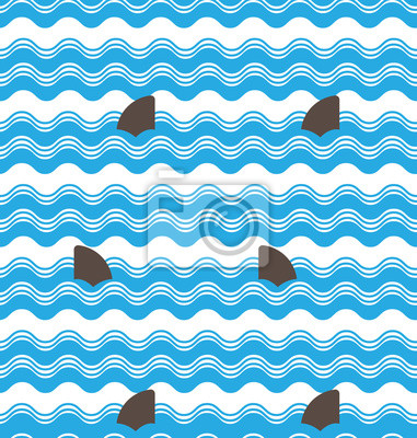 Wall mural Abstract  seamless wave stripes patterns with shark fin,Repeatin