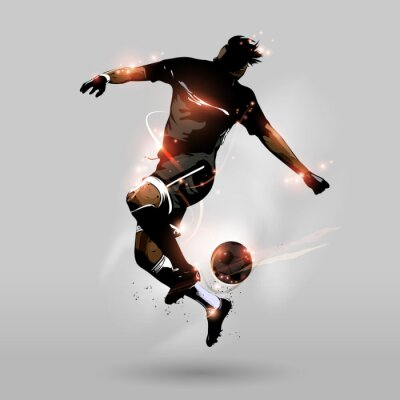 Wall mural abstract soccer jumping touch ball