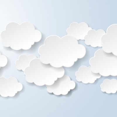 Wall mural Abstract speech bubbles in the shape of clouds used in a social