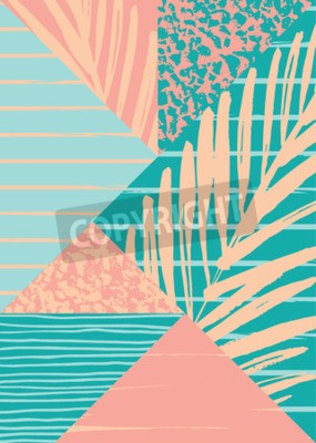 Wall mural Abstract summer composition with hand drawn vintage texture and geometric elements. Vector template for poster, cover, card design and other users.