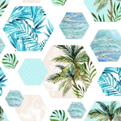 Wall mural Abstract summer geometric hexagon shapes seamless pattern