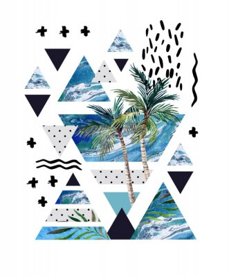 Wall mural Abstract summer geometric poster design.
