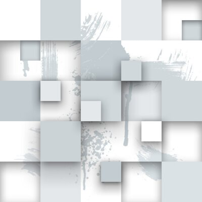 Wall mural Abstract Texture with Squares and Paint Splashes.