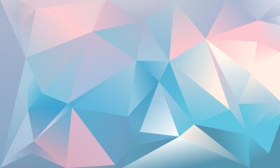 Wall mural Abstract triangle background. Light blue, pink and white colour.