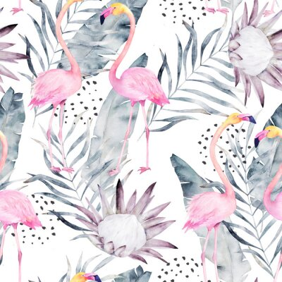 Wall mural Abstract tropical pattern with flamingo, protea, leaves. Watercolor seamless print. Minimalism illustration