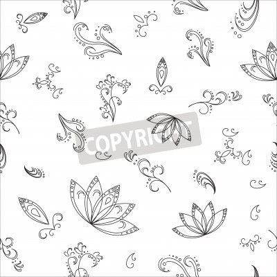Abstract vector background with graphic floral pattern, monochrome contours