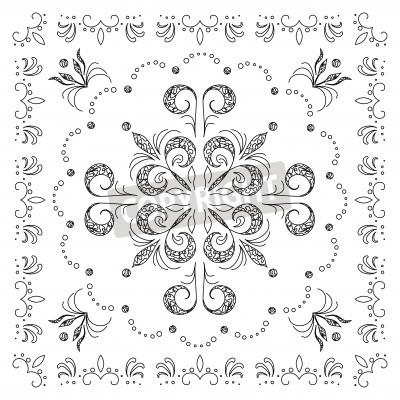 Abstract vector background with graphic outline floral pattern