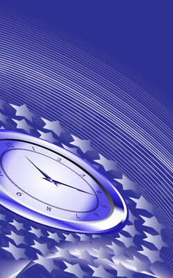 Abstract vector background with stars and clock