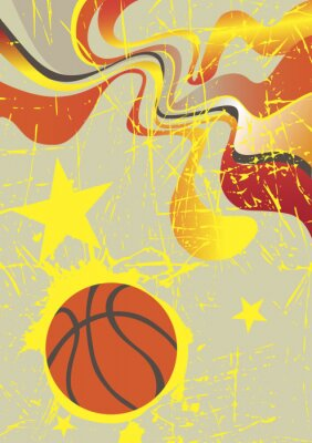 Wall mural Abstract vertical basketball banner with yellow stars