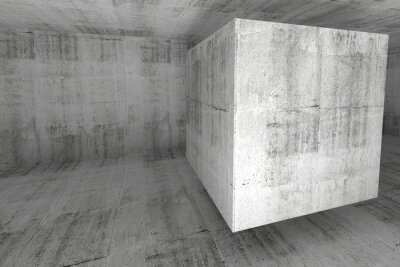 Wall mural Abstract white concrete room 3d background with cube
