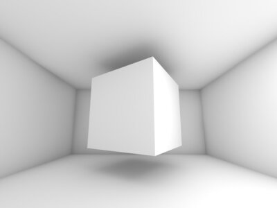 Wall mural Abstract white room interior, flying cube