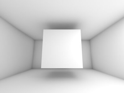Wall mural Abstract white room interior with flying cube