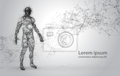 Wall mural Abstract Wire frame human body. Polygonal 3d model on white background. Dots and Lines Low Poly