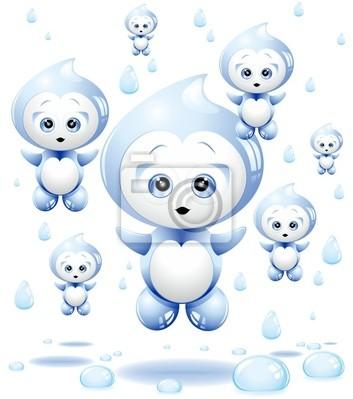 Acqua Gocce Pioggia Cartoon-Water Rain Drop Cartoon-Vector