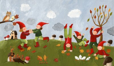 Wall mural Acrylic illustration of the cute kids - dwarfs dancing in the fa
