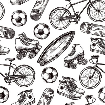 Wall mural Active Recreation Seamless Pattern
