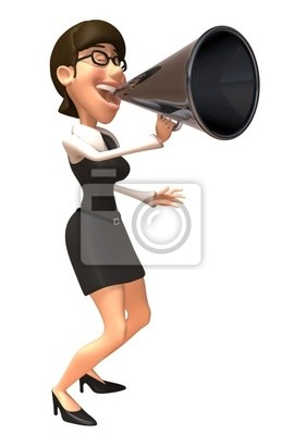 Active woman with a megaphone