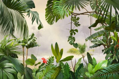 Wall mural adorable background design with tropical palm and banana leaves, can be used as background, wallpaper
