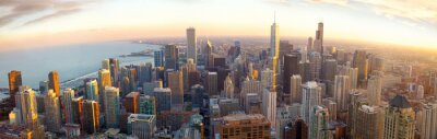 Wall mural Aerial Chicago panorama at sunset, IL, USA
