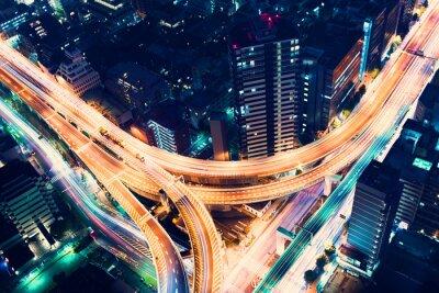 Wall mural Aerial-view highway junction at night in Tokyo, Japan