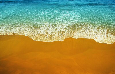 Wall mural Aerial view of transparent turquoise sea and beach