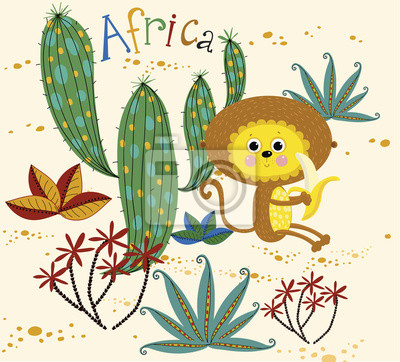 Africa.Background with monkey eating banana, cactus and plants.