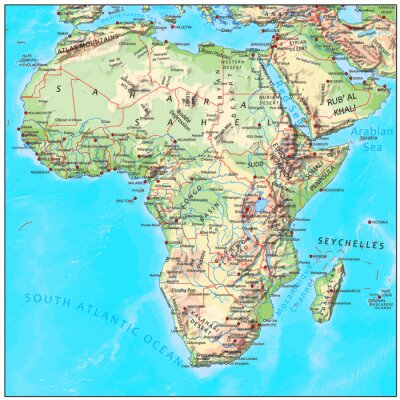 Wall mural Africa physical continent map